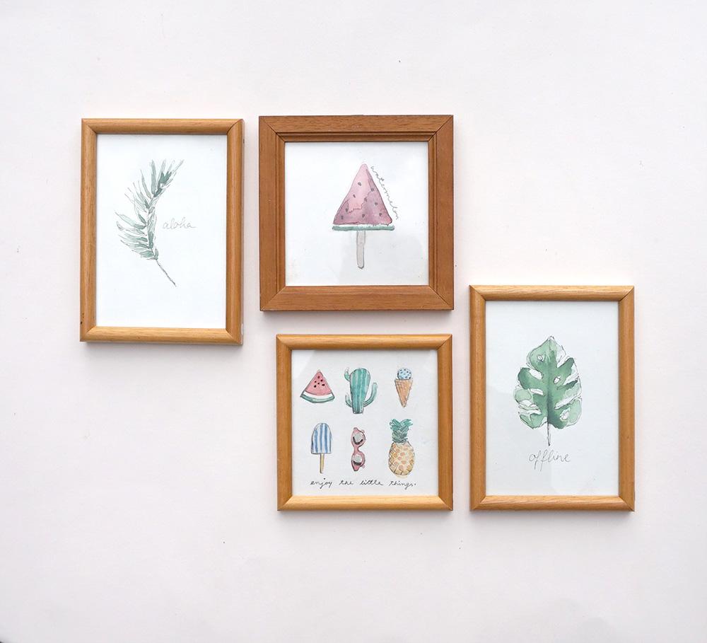 individuelle handgezeichnete Grafiken in Vintage-Rahmen