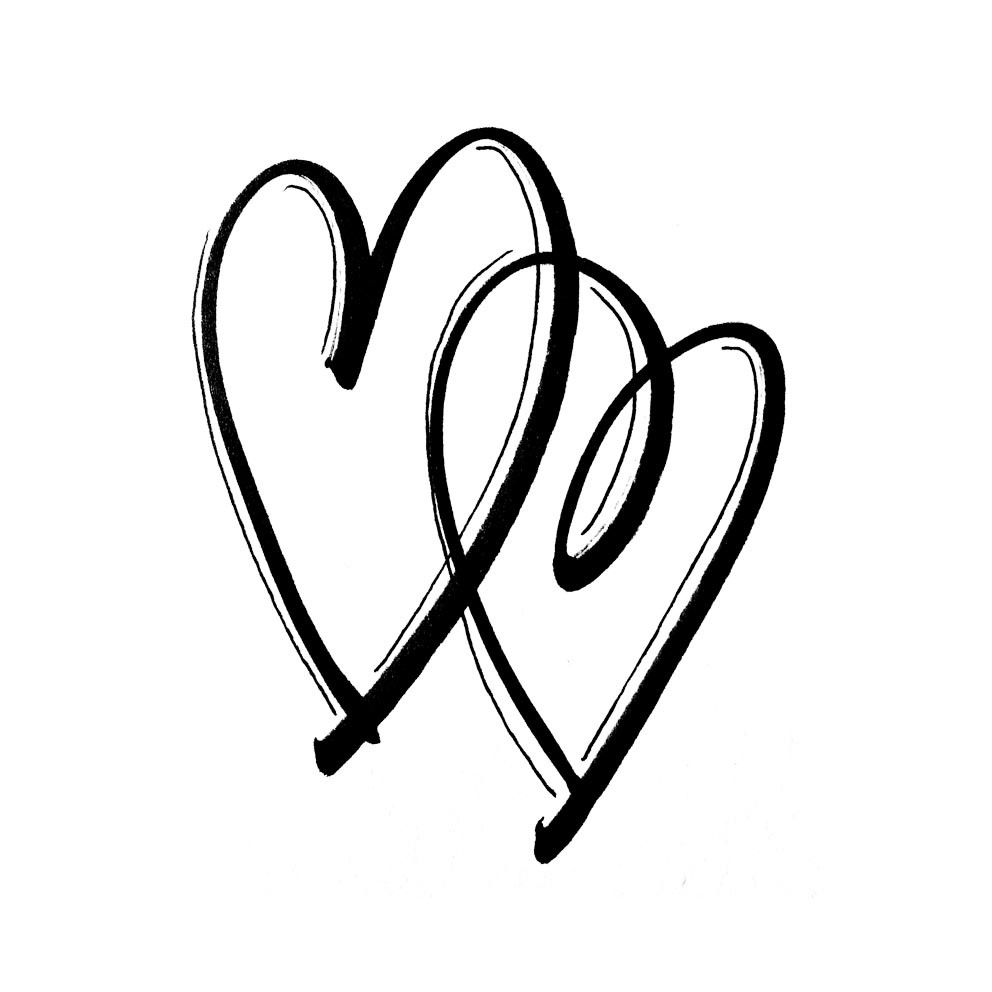 handgezeichnete Grafik zweier Herzen